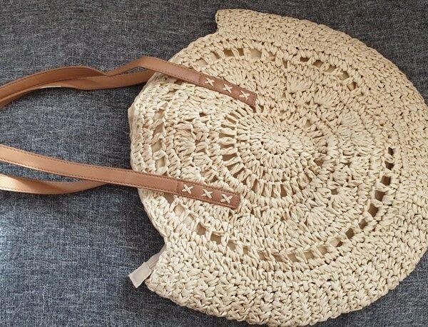 Соломенная сумка из ротанг круглая