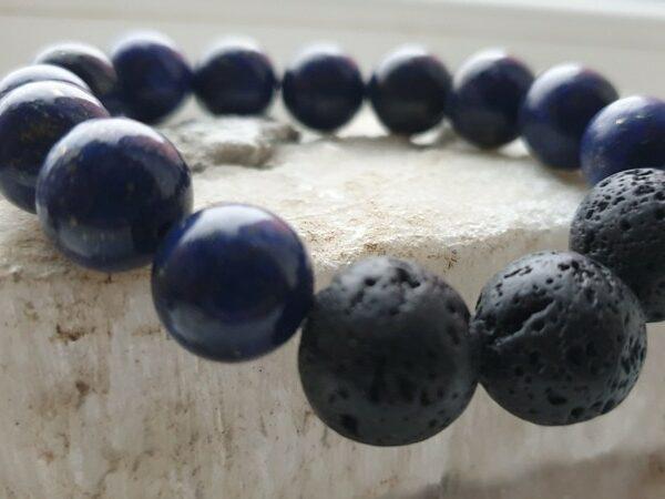 12-14 mm Браслет из натуральных камней лазурит и лава