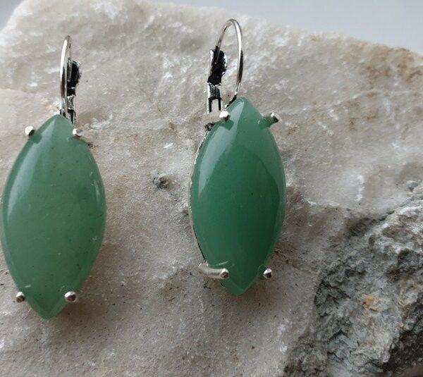 Женские винтажные серьги с натуральным jade нефрит