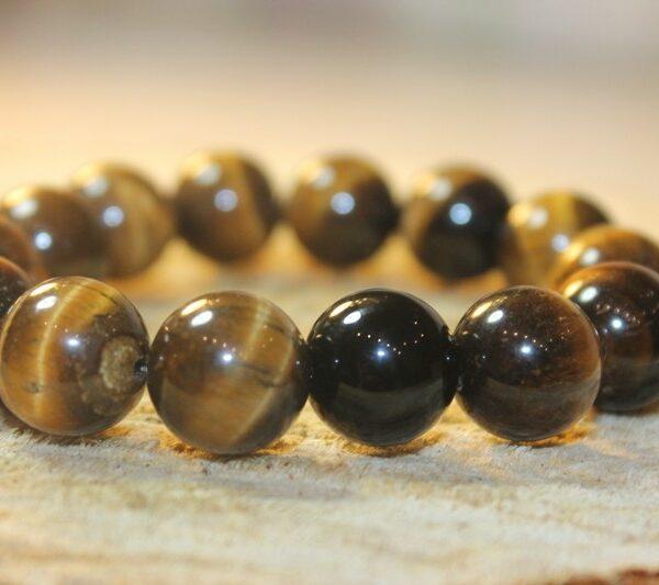 14 mm Браслет натуральный камень тигровый глаз - помогает нормализовать сон